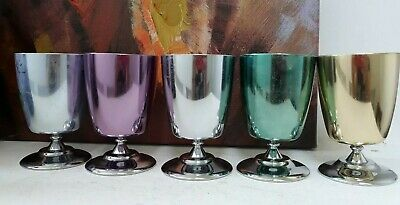 Vintage Retro Harlequin Anodized Set Of 5 Footed Cups - Peacock Ware