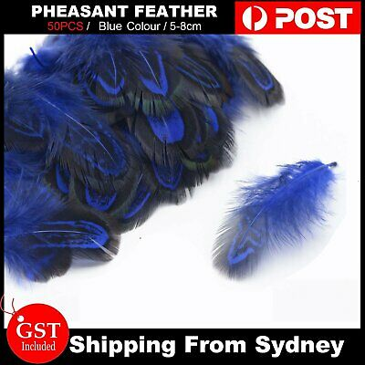 50pcs Pheasant Feathers 5-8cm Art DIY Craft Jewelry Millinery Dream Catcher Blue