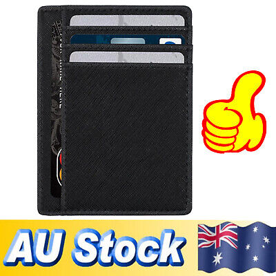 RFID Men's Leather Wallet 8 Card opal Card Coin Holder Slots Slim Wallet Black
