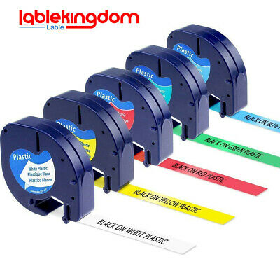 5 pk 91331 91332 91333 91334 91335 Compatible for DYMO Letratag Label Tape 12mm.