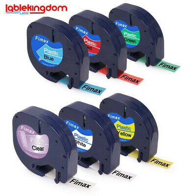 6 pk 91331 91332 91333 91334 91330 Compatible for DYMO Letratag Label Tape 12mm.