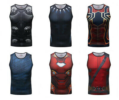 Mens Marvel Ironman Compression Vest Workout Athletic Moisture Wicking Tank Tops