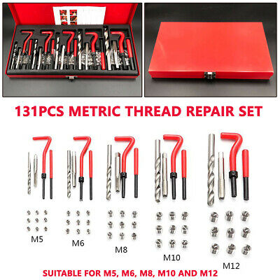 131Pcs Stripped Thread Rethread Helicoil Repair Kit Metric M5 M6 M8 M10 M12 Trim