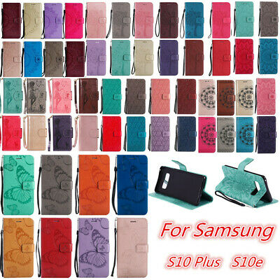 For Samsung Galaxy S10 Plus S10e Patterned Flip Leather Wallet Stand Case Cover