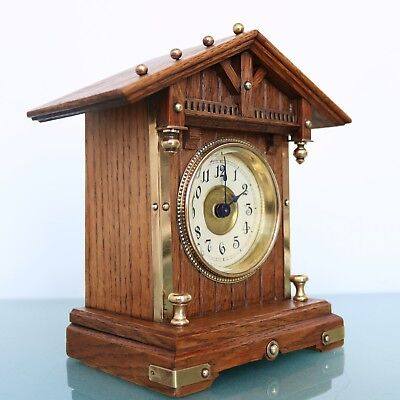 German JUNGHANS Antique CLOCK Mantel BABY MINI STRIKING CHIME Castle Shaped 1910