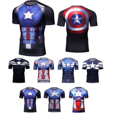 Mens Marvel Captain America 3D T Shirts Sports Compression Tops Cosplay Costumes