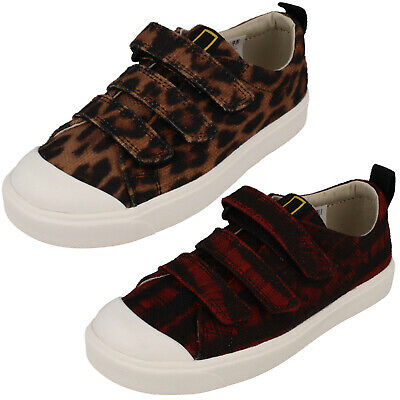 Girls Boys Clarks City Geo K Kids Hook & Loop Casual Trainers Canvas Shoes Size