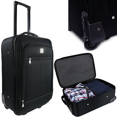 "Carry On Case Luggage 18"" Pilot Black Travel Bag With Wheels Telescopic Handle"