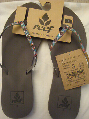 1eaf1c510fa0 Women s Gray turquoise Slim Ginger Beads Beach Flip Flop Sandals Size 8 Nwt