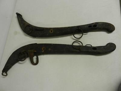 Pair Set Antique Wooden Horse Hames with Steel Hooks & Rings Rustic Barn Decor