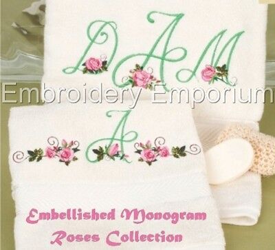 Embellished Monogram Roses Collection - Machine Embroidery Designs On Cd Or Usb