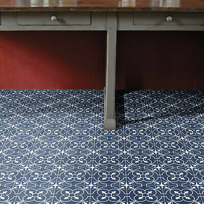 Vinyl Flooring Blue Victorian Tile Kitchen Bathroom Felt Textile Backing 2 3 4m
