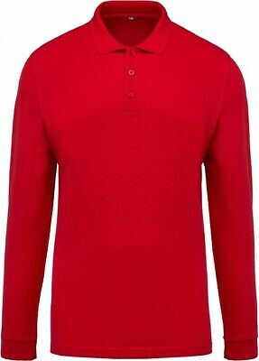 New Mens Polo T-Shirts 100% Cotton Pique Top Long Sleeve Red Polo Shirt UK Stock