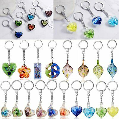 Fashion Heart Flower Lampwork Murano Glass Keychain Key Chain Keyring Gifts New