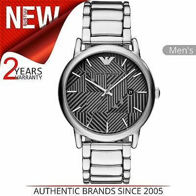 Emporio Armani Classic Men's Watch AR11134¦Black & Grey Dial¦Stainless Strap
