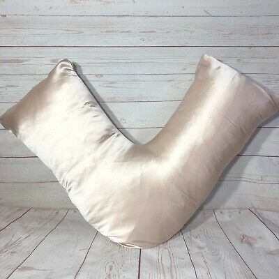 100% Mulberry silk Boomerang Tri V shape pillowcase grey white pink skin camel