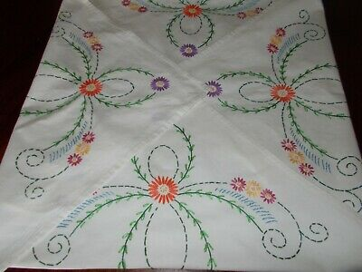 "Vintage  Hand Embroidered  Linen Tablecloth 34.5"" x 33"""