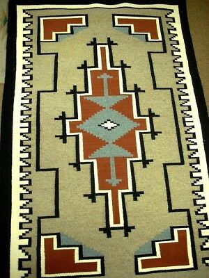 """Vintage Old Pawn TWO GREY HILLS Navajo Wool Rug Hand Woven 34"""" x 55"""" c1982"""