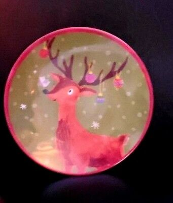 Pottery Barn Kids Christmas Reindeer Plate   Set of 4  New  Never Used