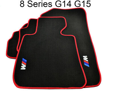 Floor Mats For BMW 8 Series G14 G15 Black & Red Rounds With M Logo LHD NEW