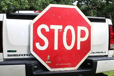 """36"""" SCARCE 1950's CHICAGO STOP SIGN WITH FOOTBALL PLAYER ORIGINAL PAINTED WOOD"""