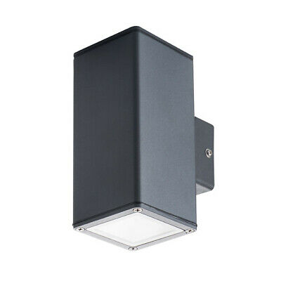 Kanlux GORI Square Black LED Up Down Wall Light GU10 IP44 Outdoor Wall Light