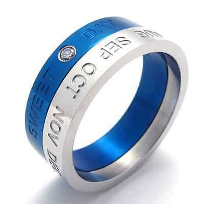 Hot sale 316L Stainless Steel Silver And Blue sweet day Cool womens Mens ring