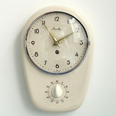 MAUTHE GERMAN Wall Clock KITCHEN TIMER! Vintage Mid Century 1960s CERAMIC 8 Day