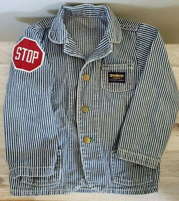 Vtg Boys Oshkosh B'Gosh Denim Barn Coat Chore Jacket Railroad Sanforized STOP