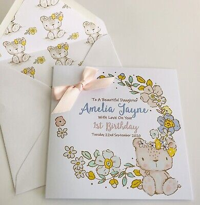 Personalised 1st Birthday Card Daughter Granddaughter Niece Girl 2nd 3rd 4th 5