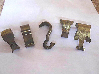 Antique Brass Picture Hooks variety pack FIVE + ONE ALL Different (one w/paint)