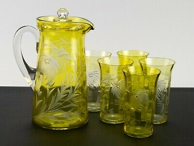 Tiffin Lemon Stain Floral Cut to Clear Covered 127 Pitcher & Ice Tea Set Antique