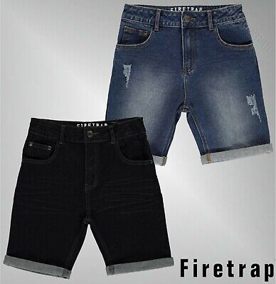 Boys Firetrap Belt Loops Zip Fly Turned Up Hem Denim Shorts Sizes Age 4-13 Yrs