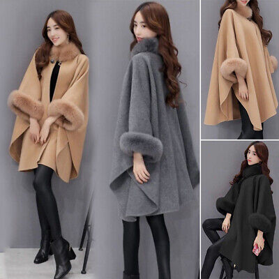 Fashion Women Fur Collar Woolen Coat Lady Winter Casual Warm Cloak Outerwear