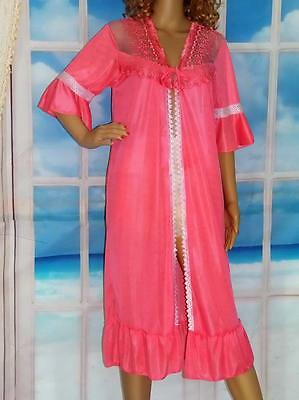 S - M Vintage Robe Robe Bell Sleeves Ruffle Hem Sheer Embroidered Lace Bodice