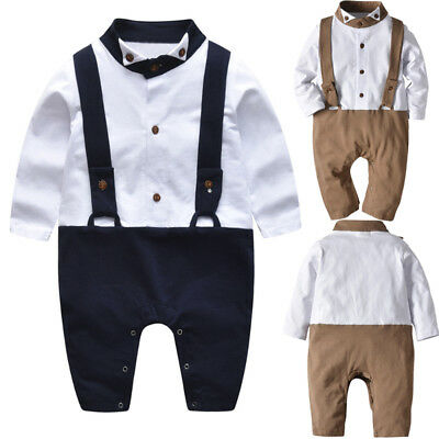 Baby Boys Gentleman Long Sleeve Romper Outfits Toddler Kids Jumpsuit Clothes