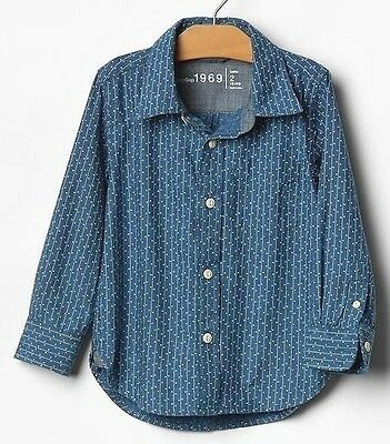 NEW Baby GAP Toddler Boys 4T Chambray Blue Striped Cotton Long Sleeve Shirt
