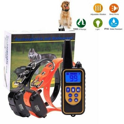 LCD Electric Remote Dog Training Shock Collar 1000 Yard Rechargeable Waterproof