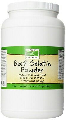 Now Foods Natural BEEF GELATIN Powder Unflavored 4 lbs PROTEIN THICKENING AGENT