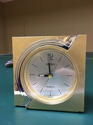 SEIKO Japan Vintage SquareQuartz Desk Mantle Clock with Gold Brass & Chrome Case