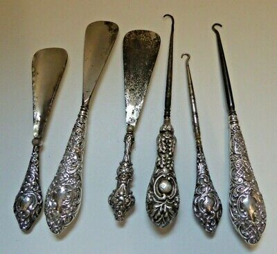 Job Lot of Antique Silver Handled Button Hooks and Shoe Horns