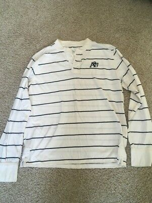 Aeropostale mens XL cream navy blue striped long sleeve henley shirt