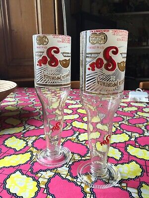 Pair Of 2 Recycled Sol Beer Bottles Drinking Glass Champagne Fizzy Bubbly Corona