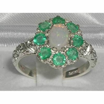 Solid English Sterling Silver Ladies Large Opal & Emerald Art Nouveau  Ring