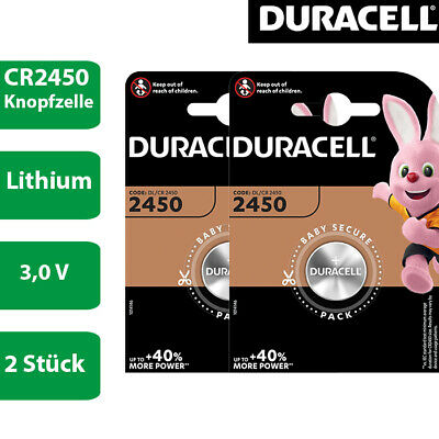 2 x Duracell Specialty CR 2450 3V Lithium Batterie Knopfzelle DL2450 im Blister