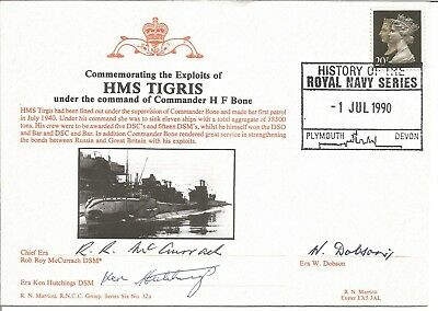 HMS Tigris official triple signed Navy cover commemorating it & Cdr Bone M785