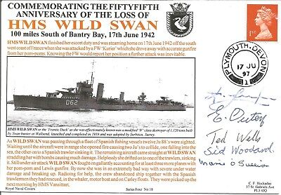 HMS Wild Swan official signed x5 Navy cover. Commemorates 55th anniversary M642