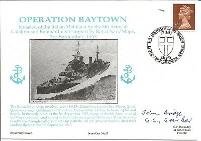 Operation Baytown signed official navy cover. Signed by John Bridge M649