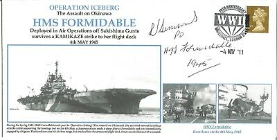 HMS Formidable Operation Iceberg official navy cover signed by Lt R Simons M720
