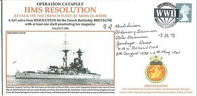 HMS Resolution attack on the French fleet signed official Navy cover M729